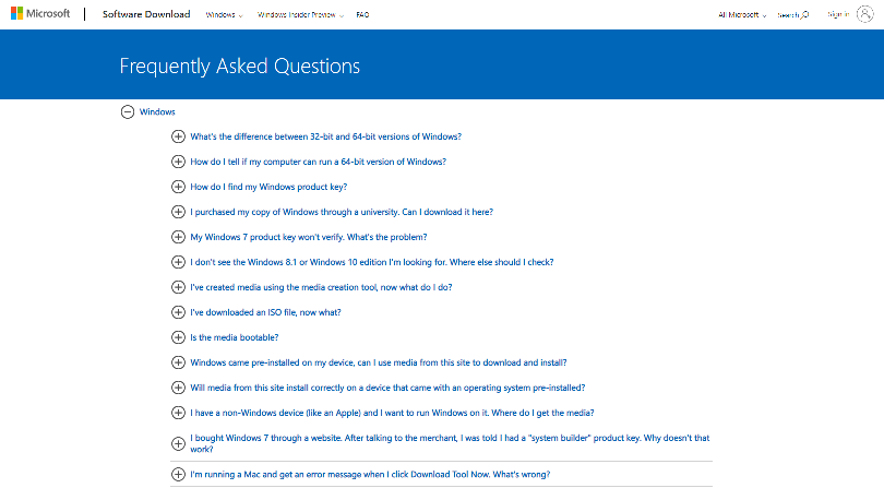 An example of the Q&A format via FAQ page on Microsoft