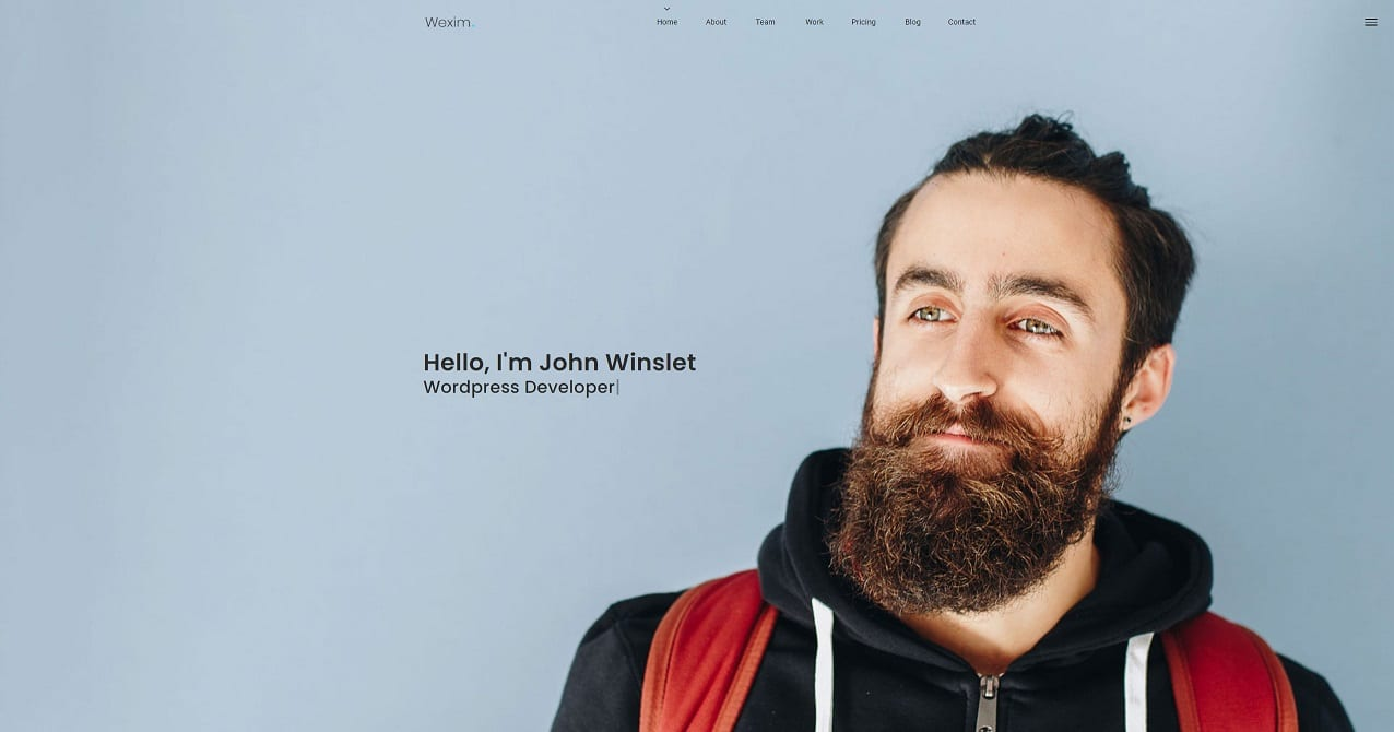 A one-page website example showing a simple web portfolio design